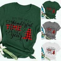 Women Christmas Letter Printed T-shirt Ladies Casual Xmas Tee Tops Short Q7Q6