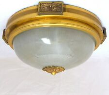"""1920 Antique Ceiling Wall Light Petitot & Holophane 12"""" - Bronze, Pleated Glass"""