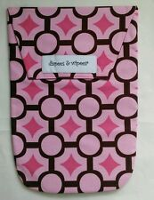 New Diapees and Wipees Diaper and Wipes Clutch Travel Bag Mod Maze Pink Print
