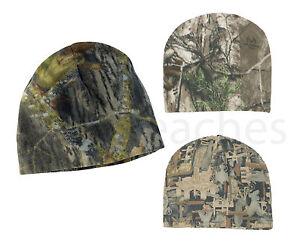 Camo Fleece Beanies - Hunting, Outdoor Cap, Hat Mossy Oak County, Realtree, XTRA