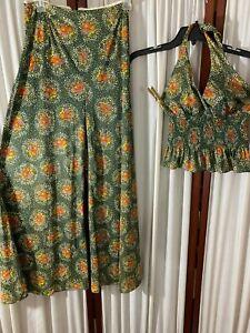 1970's Pants Set -Halter Top/Wide-Leg Pants- S-Green w/Floral Print-VG-SEXY BOHO