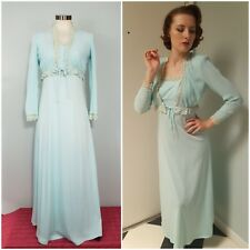 VTG 70s Gown with Jacket Crochet Lace Trim Pleated Blue Evening Party Dress XS