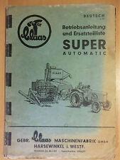 Istruzioni di pezzi di ricambio elenco CLAAS SUPER AUTOMATIC coltivazione paglia Schneider stampa 1959