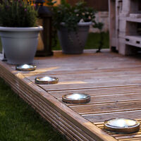 Solar Power Outdoor Stainless Steel Decking Pathway Spot Lights | Garden Fence