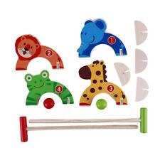 Children Wooden Animal Croquet Set Outdoor Toy Lawn Garden Ball Games BS