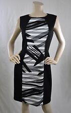 "Tahari ASL New W Tags Wear To Work Sleeveless ""Jane"" Dress Black Ivory Sz 6 $128"