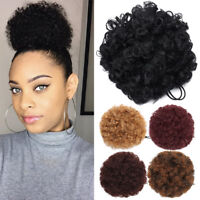 US Natural Puff Twin Afro Hair Bun Kinky Curly Ponytail Updo Hair Extensions 8In