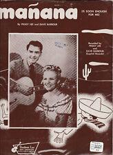Original PEGGY LEE & DAVE BARBOUR Sheet Music MANANA (1948)