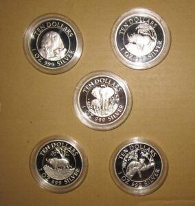 "1996 Zimbabwe 10 D Afrika Big Five Proof Silver COINS SET with COA ""RARE"" & ""SCA"