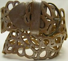 ABERCROMBIE FITCH DISTRESSED SILVER LEATHER WIDE CINCH CORSET BELT EXTRA SMALL
