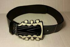 Graphic Guitar Belt Hot Topic SZ 34 w/ Guitar Buckle Black White