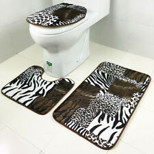 3 Pieces Animal Print Flannel Toilet Lid Non Slip Bath Mat Bathroom Rug Set
