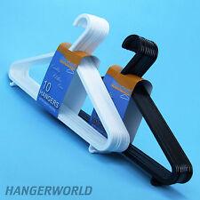 Hangerworld™ 36cm Perchas Plástico Negro Blanco Barra Pantalón Ganchos Tirantes