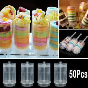 50X Cakes Dessert Push Up Clear Containers Shooter Pop Party DIY Push Cake Tools