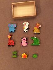 John Lewis 6 Colourful Wooden Magnetic Strip Animals In Wooden Box. 12+Months