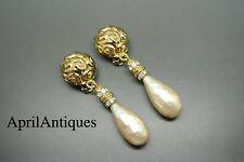 Vintage Yves Saint Laurent YSL gold-tone faux pearl teardrop earrings