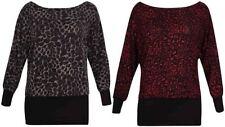Animal Print Off-Shoulder Sleeve Tops for Women
