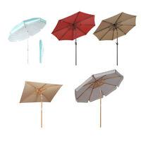 Outdoor Patio Umbrella Wood Market Beach Camping Table Yard Garden Parasol