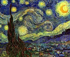 A Starry Night Picture Stars Print by Van Gogh Giclee Canvas or Fine Art Poster