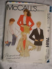 McCall's Women's Jacket Pattern #7881 Size 10 Personalized Instructions 1982
