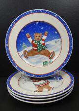 Mikasa Skating Bears Set of 4 Salad Plates Christmas