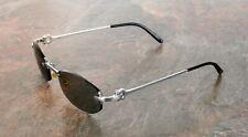 Cartier Vintage Sunglasses Meltem Rimless Platinum C Décor Rare in Case