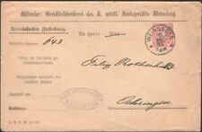 WURTTEMBERG, 1905. Official Cover Mi 216, Weinsberg - Oehringen