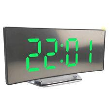 Large Mirror LED USB Digital Table Wall Clock 3D Display Alarm Brightness Dimmer