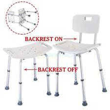 8 Position Height Adjustable Medical Shower Bath Chair Stool Detachable Backrest