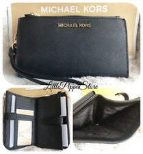 NWT MICHAEL KORS SAFFIANO LEATHER JET SET TRAVEL DOUBLE ZIP WALLET IN BLACK