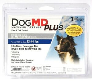Dog MD Maximum Defense Plus Flea & Tick Topical Dogs 23 To 44 Lbs 3 Month Supply