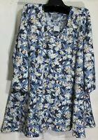 New Catherines Women Stretch knit top size 3X V neck Flair Bottom Floral prints