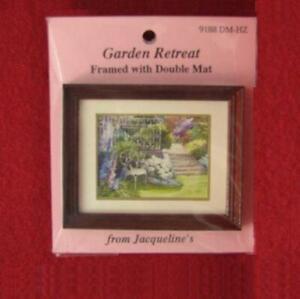 Framed Picture Garden Retreat dbl mat Jacqueline's 9188 DOLLHOUSE MINIATURE