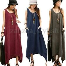 Women Boho Sleeveless Cotton Linen Irregular Baggy Long Maxi Dress Sundress Plus