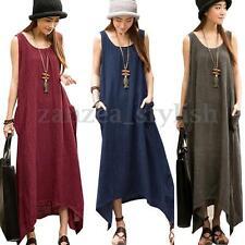 Women Boho Sleeveless Cotton Linen Irregular Baggy Long Maxi Dress Sundress Plus