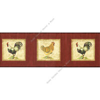 Tuscan Brick Red Rooster Hen Chicken Frame Beige Script Wall paper Border