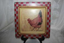 Vintage Hand painted Hen Square Plate 3