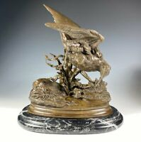 Antique French Animalier Bronze Sculpture, Marble Plinth, Signed J. Moigniez