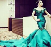 Long Crystal Green Mermaid Off Shoulder Evening Party Pageant Prom Dress Custom