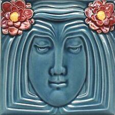 Art Nouveau Vintage Ceramic Tile Azulejo European Trivet Majolica Reproduction