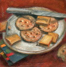 Ritz Crackers and Cheese  8x8 in.Original Oil  on panel Hall Groat Sr.