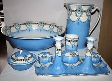 Crown Ford, Burslem - Art Deco 10 Piece Wash Stand Set with Jug and Bowl