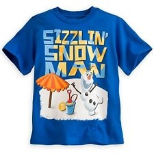 DISNEY STORE FROZEN OLAF TEE BOYS SIZE 7/8 BLUE SIZZLING' SNOWMAN SCREEN ART NWT