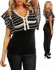 Black/Off White Crochet Crop Cardigan w/Batwings Sleeves. Size  Medium & Large