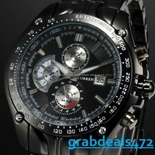 Curren Luxury Watches White/Black Stainless Steel Branded Watch For Men