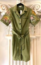 New DRIES VAN NOTEN Green Shirt/ trench Dress Size 36