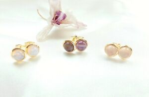 14ct real yellow gold plated 6mm cabochon natural pink agate stud earrings