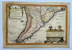 CHILE 1705 NICOLAS DE FER UNUSUAL ANTIQUE ENGRAVED MAP 18TH CENTURY