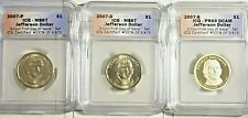 2007 P-D-S Thomas Jefferson 3 coin Set  First Day Issue ICG Certified