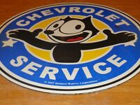 "VINTAGE 1957 ""FELIX THE CAT CHEVROLET"" 11 3/4"" PORCELAIN METAL GASOLINE OIL SIGN"
